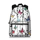 Jeremysport Butterfly Backpack Rucksack School Bags (White Butterfly)