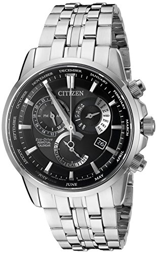 Citizen Eco-Drive Men's 'Perpetual Calendar' Quartz Stainless Steel Casual Watch, Color: Silver-Toned (Model: BL8140-55E) (Crystal Sapphire Watch)