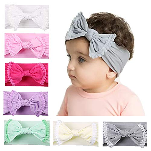 inSowni Boutique Stretch Bow Turban Nylon Headbands Set for Newborns Baby Girl Toddlers Infants (7PCS -
