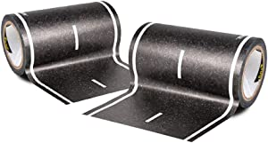 PlayTape Black Road - Road Car Tape Great for Kids, Sticker Roll for Cars Track and Train Sets, Stick to Floors and Walls, Quick Cleanup, Children Toys (30'x4 - 2 Rolls, 30'x4 - 2 Rolls)