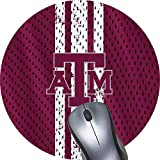 Texas a m Aggies Logo Jersey Stripe Custom Mouse Pad Waterproof Material Non-Slip Rubber Round Mouse Pad(7.8x7.8x0.08inch) for Office Desktop or Gaming Mouse Mat Keyboard Pad