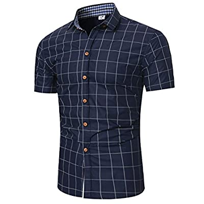 Forthery Mens Tops Clearance Short Sleeve Plaid Slim Fit Button Down Dress Shirt