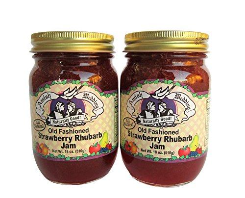 Strawberry Rhubarb - Amish Wedding Foods Old Fashioned Strawberry Rhubarb Jam All Natural 2-18 oz. Jars