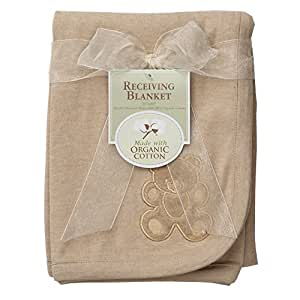 American Baby Company Embroidered Swaddle Blanket made with Organic Cotton, Mocha