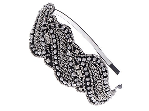 Alilang Metallic Gunmetal Grey Beaded Headband Rhinestone Crystal Accents (Cute Flapper Costumes)
