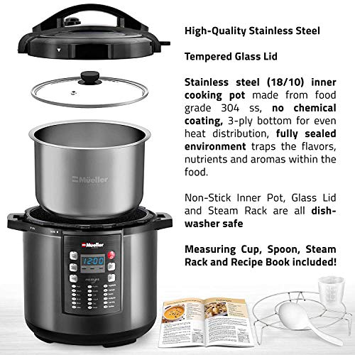 MUELLER Pressure Crock 10-in-1 Pot Series 19 with Cook Once, LID, Saute, Rice,