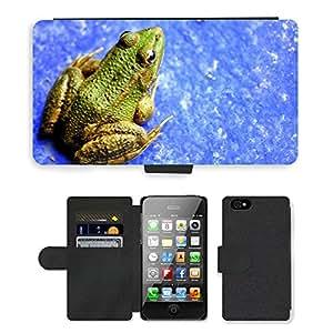 PU LEATHER case coque housse smartphone Flip bag Cover protection // M00129424 Anfibio de la rana Vivid Naturaleza // Apple iPhone 4 4S 4G