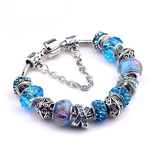 The Starry Night Cross Diamond Accented Blue Glass Beaded Crystal Silver Hand Carved Pandora Bracelet