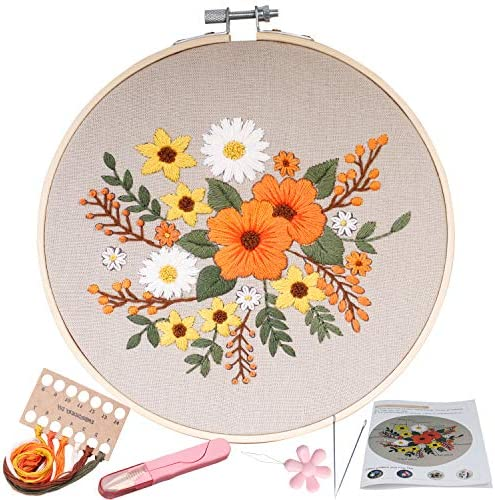 Stamped Embroidery Kit – for DIY Beginner Starter Stitch Kit for Art Craft Handy Sewing Including Color Pattern Embroidery Cloth,Embroidery Hoop,Color Threads,Tools Kit … (kit 11)