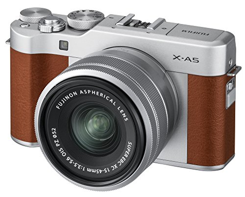 Fujifilm X-A5 Mirrorless Digital Camera w/XC15-45mmF3.5-5.6 OIS PZ Lens - Brown (Mirrorless Camera With Viewfinder And Built In Flash)