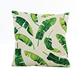 Pgojuni Flowers Grass Pattern Cushion Cover Throw Pillow Cover Accent Cushion Cover Square Pillow Case for Sofa/Car/Bed Home Decor 1pc (G)
