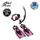 TUSA Sport Adult Black Series Serene Mask, Dry Snorkel, and Fin Travel Set, Black/Hot Pink, Medium