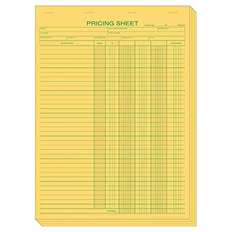 amazon com yellow padded pricing sheets size 8 1 2 x 11