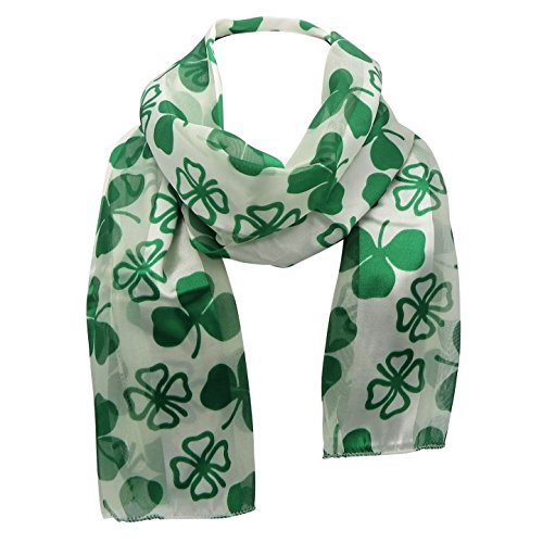 Rosemarie Collections Women's St Patrick's Day Silky Stripe Scarf (Lucky Clover) (Ann Taylor Loft Green)