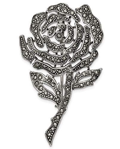 Sterling Silver Antiqued Marcasite Flower Pin