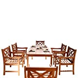 Cheap Vifah V98SET13 Malibu 7 Piece Wood Outdoor Dining Set