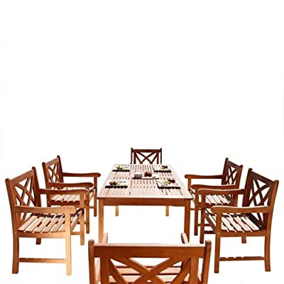 Vifah V98SET13 Airlie Outdoor 7-Piece Wood Patio Dining Set Natural - Included 1 rectangular table with umbrella hole, 6 chairs No cushion or pillows included 1-year warranty against manufacturing defects - patio-furniture, dining-sets-patio-funiture, patio - 512TyKV5sKL. SS400  -