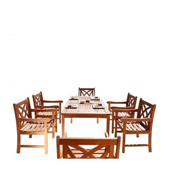 Vifah V98SET13 Airlie Outdoor 7-Piece Wood Patio Dining Set, Natural - Included 1 rectangular table with umbrella hole, 6 chairs No cushion or pillows included 1-year warranty against manufacturing defects - patio-furniture, dining-sets-patio-funiture, patio - 512TyKV5sKL. SS570  -