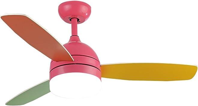 RainierLight - Ventilador de techo infantil colorido con 3 hojas de madera, cuerda para proteger la vista,