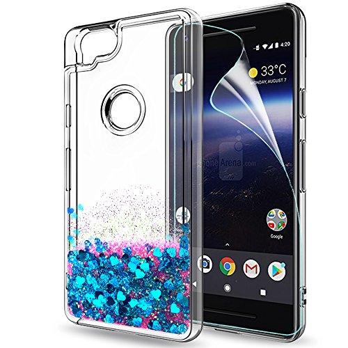 Funda Google Pixel 2 Purpurina Carcasa con HD Protectores de Pantalla, LeYi Mujer Brillante Liquida Cristal Transparente TPU Gel Ultrafina 3D Silicona Fundas Case Carcasas Para Movil Pixel 2 ZX Oro Ro ZX Pixel2 Blue