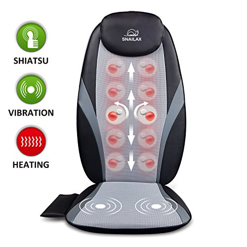 Snailax Shiatsu Massage Cushion with Heat Massage Chair Pad Kneading Back Massager for Home Office Car Seat use SL-256 Leather Home Massage Chairs