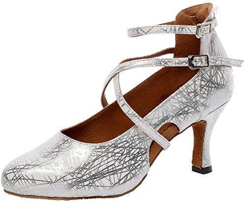 Salabobo AQQ-7070 Womens Latin Wedding Party Tango Closed Toe Mid Heel Satin Dance Shoes Silvery UK 5.5(3IN) qx4JnxzAYb