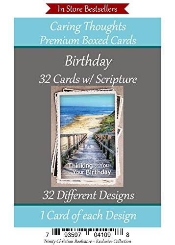 Religious Birthday Cards - Birthday (No Repeated Cards) 32 Design Christian / Religious Greeting Card Assortment #2 ~ Scripture in every card