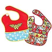 Bumkins Baby Bib, DC Comics Waterproof SuperBib 2 Pack, Wonder Woman (Logo/Icon) (6-24 Months)