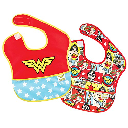 Bumkins DC Comics Wonder Woman SuperBib, Baby Bib, Waterproof, Washable, Stain and Odor Resistant, 6-24 Months -