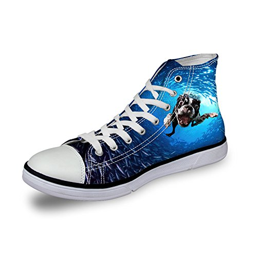 Men U for Animal Fashion Sneakers Canvas up High DESIGNS 3 Print Shoes Top Lace FOR and Casual Blue Women Unisex BSxqTwx6