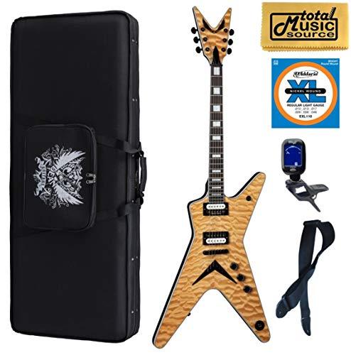 (Dean ML Select Quilt Top Electric Guitar, Natural, ML SEL QM GN, Soft Case Bundle)