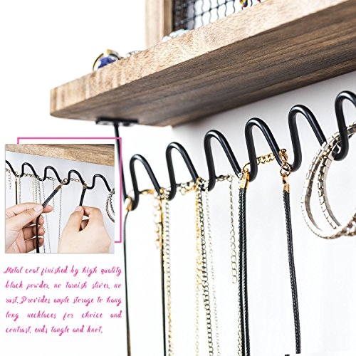 SRIWATANA Hanging Jewelry Organizers, Jewelry Organizer Wall Mounted Jewelry Holder for Necklaces, Earrings, Rings, Makeup Organizer with Mirror by SRIWATANA (Image #5)