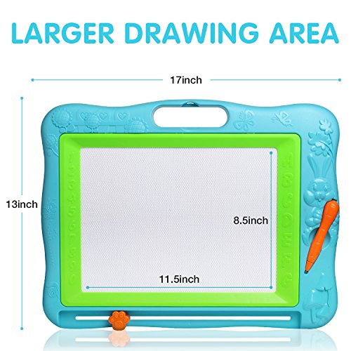 512Tz1cmqNL - JOYNOTE Large Magnetic Drawing Board for Kids, Colorful Magnet Writing Sketching Pad,Education Toys for Toddlers Learning with 5 Shape Stamps,6 Copy Cards,1 Replacement Pen and 2 Lovely Sticker