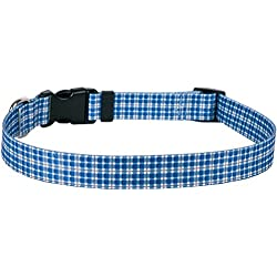 "Yellow Dog Design Preppy Boy Plaid Dog Collar with Tag-A-Long ID Tag System-Large-1"" and fits Neck 18 to 28"""