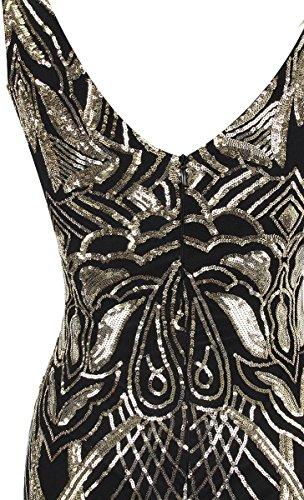 netto Vestito sirena Angel donne un di a albero Paillette delle Nero Oro senza paillettes ramo fashions con spalline abito R6RtrFw5aq