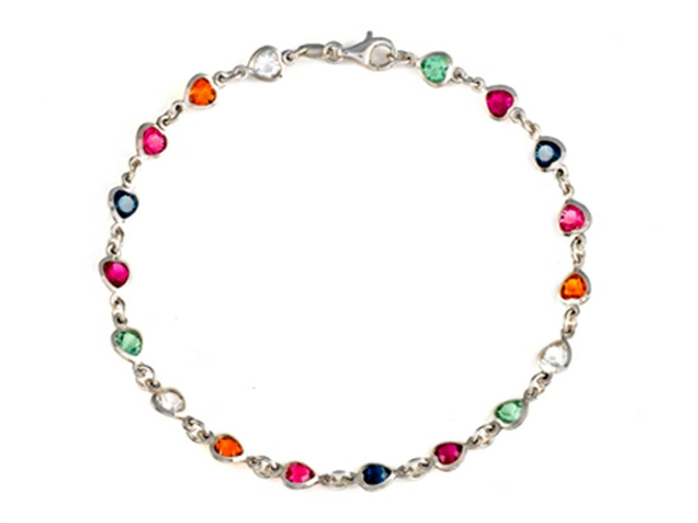 Finejewelers 10 Inches Hearts Ankle Bracelet with Simulated Stones Sterling Silver