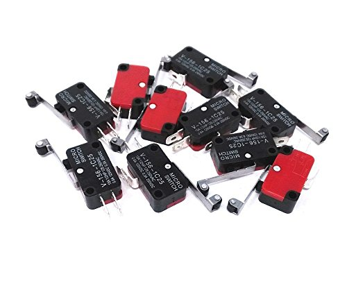 WINGONEER 10pcs V-156-1C25 Micro Limit Switch with Long Hinge Roller Momentary SPDT Snap Action for Arduino