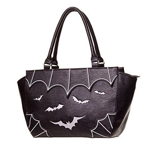 Banned Apparel Bats Faux Leather Gothic Vampire Shoulder Handbag White