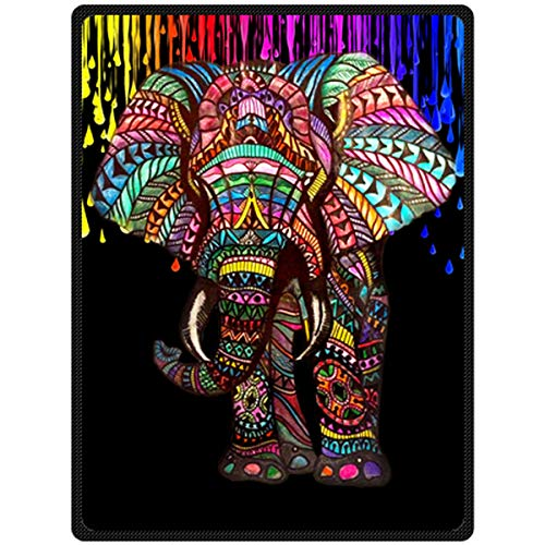 Assaoy Cute Elephant Blanket Comfort Warmth Soft Cozy Air Conditioning Quilt Fashion Fleece Blanket Perfect for Couch Sofa or Bed
