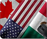 MSD Natural Rubber Mousepad Mouse Pads/Mat design 32559273 Close up of the flags of the North American Free Trade Agreement NAFTA members on textile texture NAFTA is the world