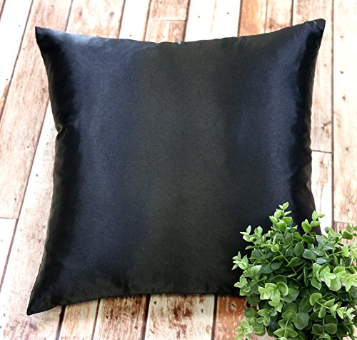 Creative Colorful Shiny Satin Euro Sham / Pillow Cover 26 by 26 - Black