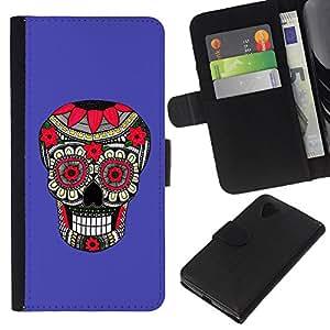 RenCase/tapa diario Funda de piel sintética con tarjetero para LG Google Nexus 5–Purple Pattern Floral Skull Death