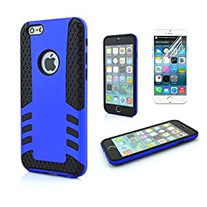5.5'' iPhone 6 Plus Case, Boriyuan [Rugged Armor] Apple iPhone 6 Plus(5.5 inch) Cover [Heavy Duty] Armor Plate, Brand New 2 in 1 Hybrid Rubber Defender Protective Hard Gel TPU Case Shell, Double Layer Design + Impact Resistant Bumper [with a Free Screen Protector] (Dark Blue)