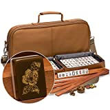 American Mahjong Set with 166 Tiles Adorned with Floral Motif, Leatherette Case, Racks with Pushers, Betting Coins, Dice, and Wind Indicator, ''Peony''