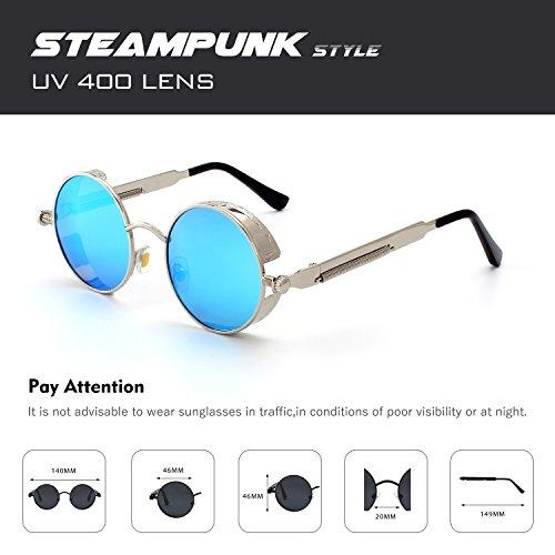 A E72 inspirado retro para sol círculo estilo hombres Steampunk metálico Azul gafas polarizadas CGID redondo de Plateado 6TdwqBxB