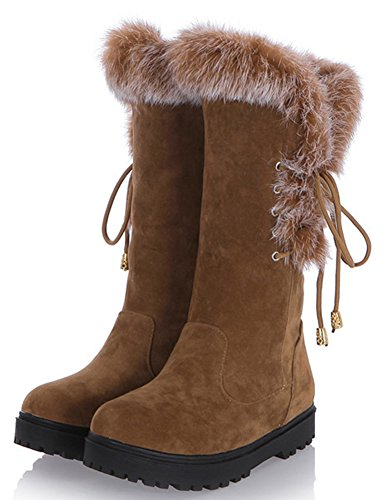 IDIFU Womens Sweet Bow Platform Faux Fur Lined Mid Calf Snow Booties Low Heels Yellow EzLjAG