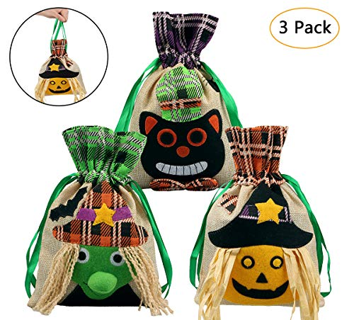 Cute Halloween Treats For Parties (Aitey Halloween Drawstring Bags, 3 Pack Linen Halloween Trick or Treat Bags for Kids, Candy Bags Children Gift Halloween Party Supplies Decorations 3 Cute Prints - Pumpkin Witch and)