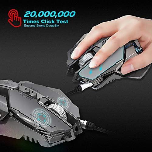 XFQ Souris Filaire, USB Filaire 4000Dpi 7Buttons Optique Gaming Mouse Rétro-Éclairage LED Gamer PC Portable Gamer