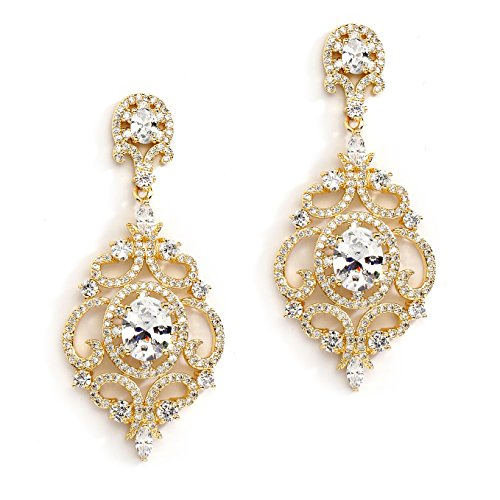 - Mariell Victorian Scrolls 14k Gold Plated Cubic Zirconia Wedding or Evening Chandelier Earrings