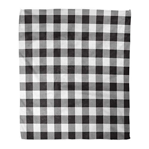 - Emvency Throw Blanket Warm Cozy Print Flannel Plaid Black White Checkerboard Check Abstract Celtic Comfortable Soft for Bed Sofa and Couch 60x80 Inches